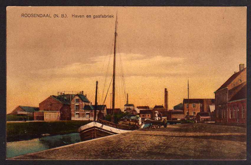 Ansichtskarte Roosendaal Provinz Nordbrabant Haven en gasfabriek um 1915 Feldpost