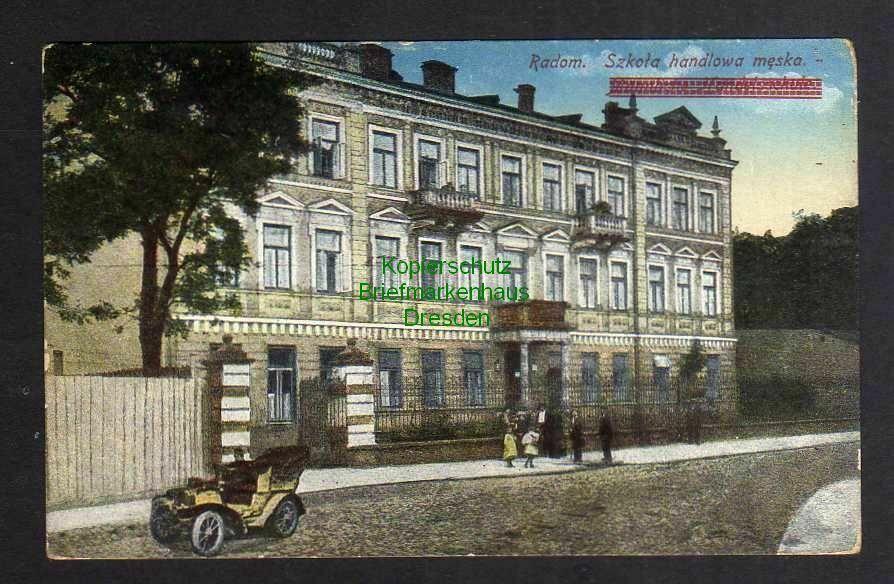 Ansichtskarte Radom Szkola Handelsschule Feldpost 1939