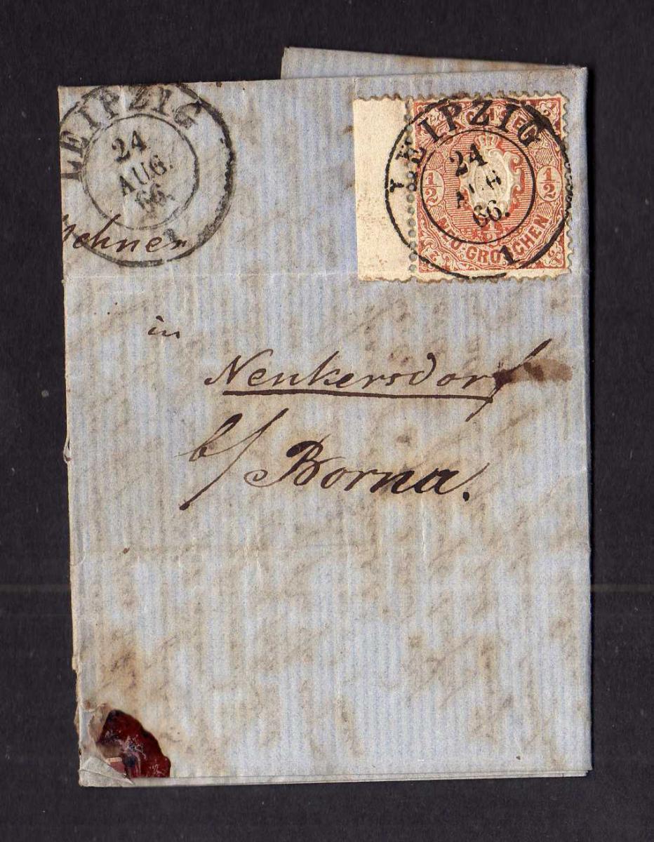 B2635 Sachsen Faltbrief Leipzig 1866 15 Randstück