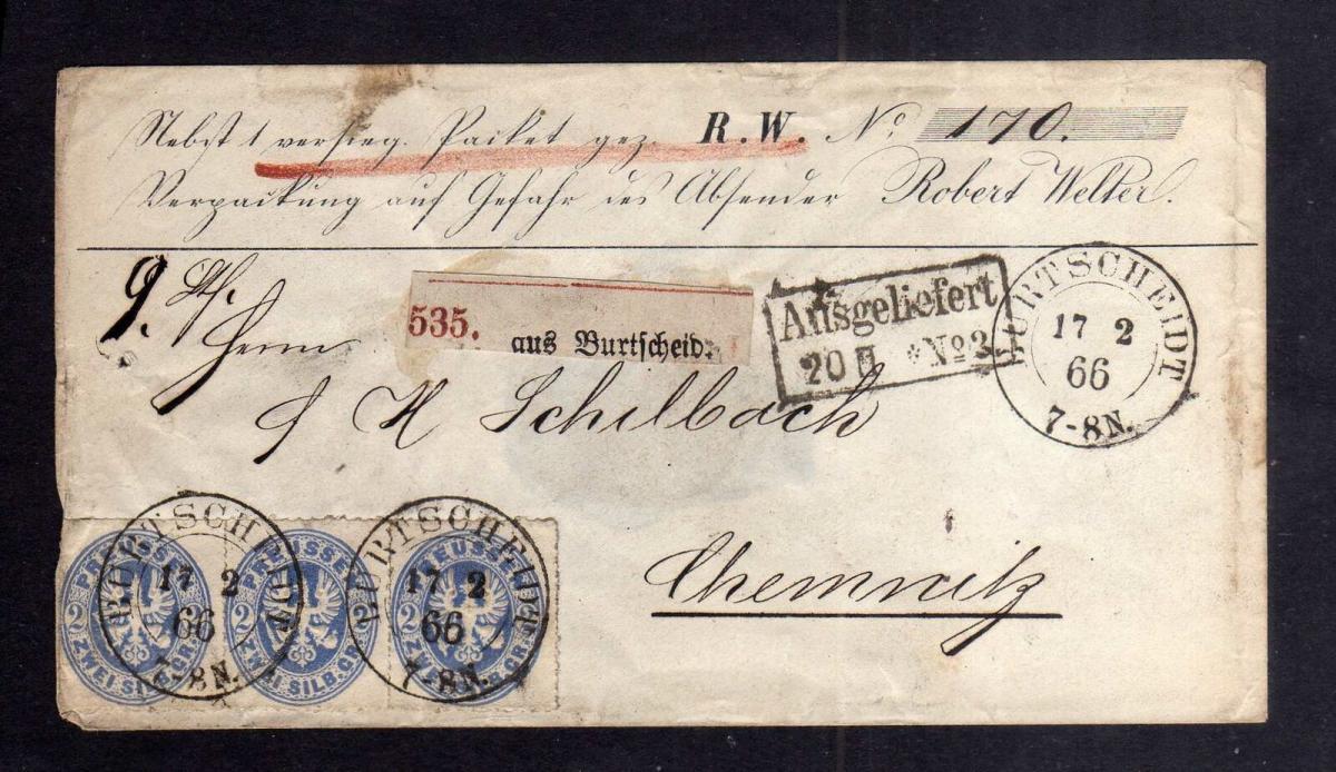 B2629 Preußen Paketbegleitbrief 3x 18 Dreierstreifen Burtscheid Aachen Chemnitz