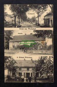 Ansichtskarte Woitsdorf Schule E. Walters Wohnhaus Dorfstraße 1927 Kr. Sorau