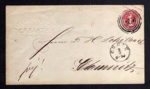 B2630 Ganzsache Thun & Taxis um 1867 Greiz geprägter Abs.: Kammgarn Spinnerei