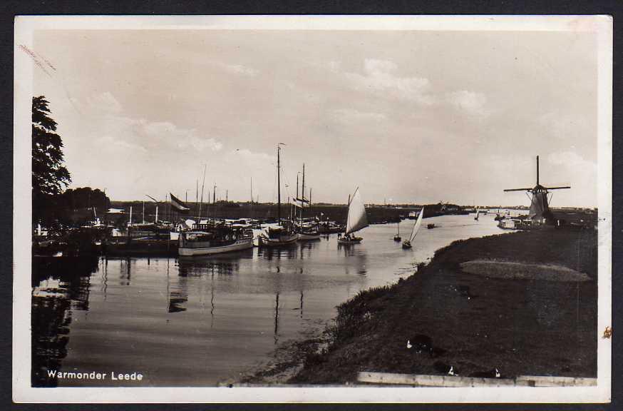 Ansichtskarte Warmonder Leede Schiff Segelboot Windmühle Teylingen Fotokarte 1931