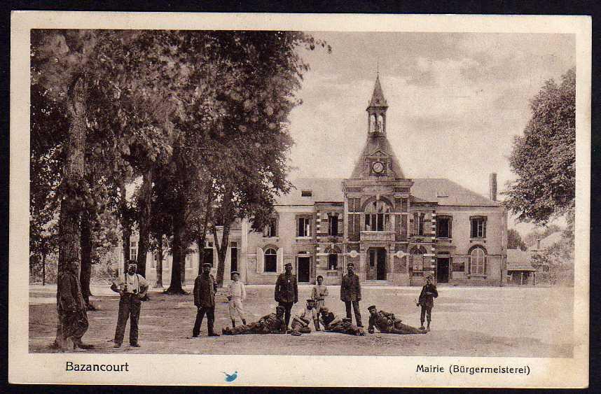 Ansichtskarte Bazancourt Marne Mairie Bürgermeiserei Feldpost 1916 Rathaus