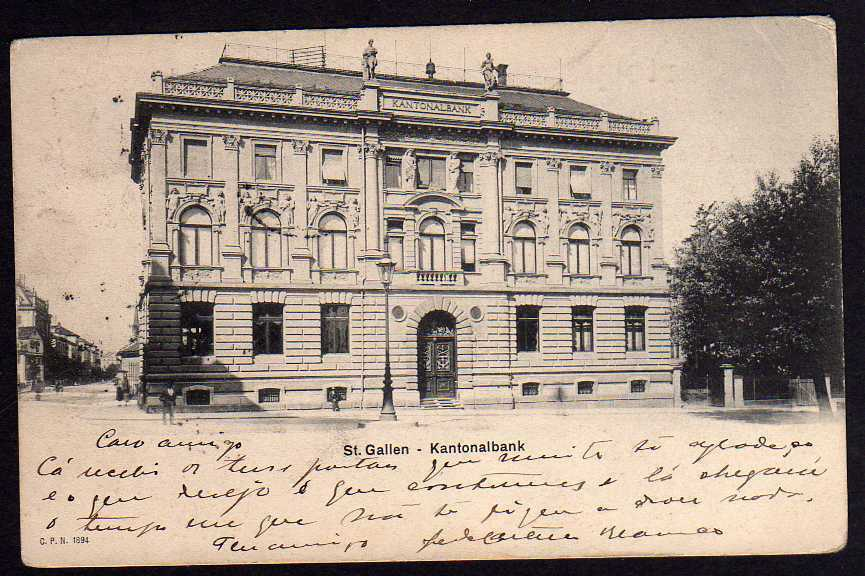 Ansichtskarte St. Gallen Saint-Gall Kantonalbank 1904 Vollbild