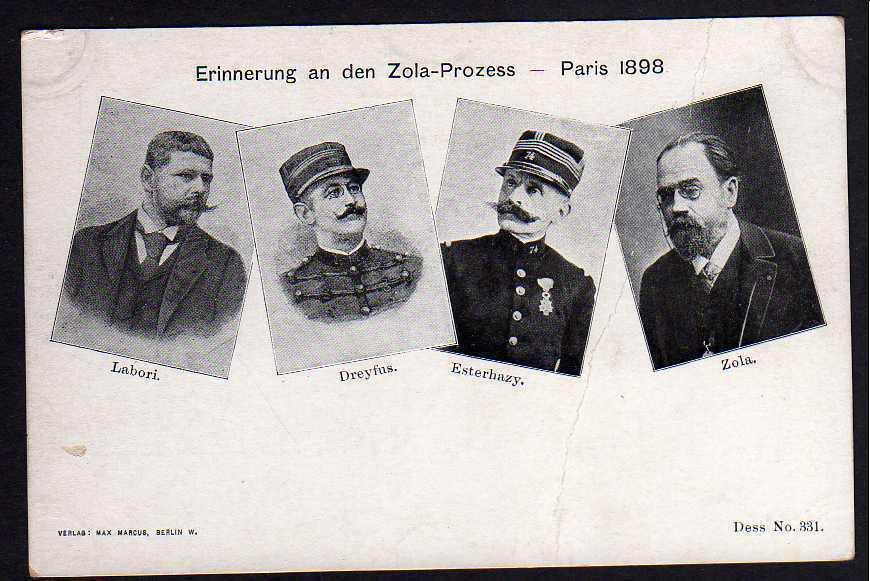 Ansichtskarte Erinnerung an den Zola Prozess Paris 1898