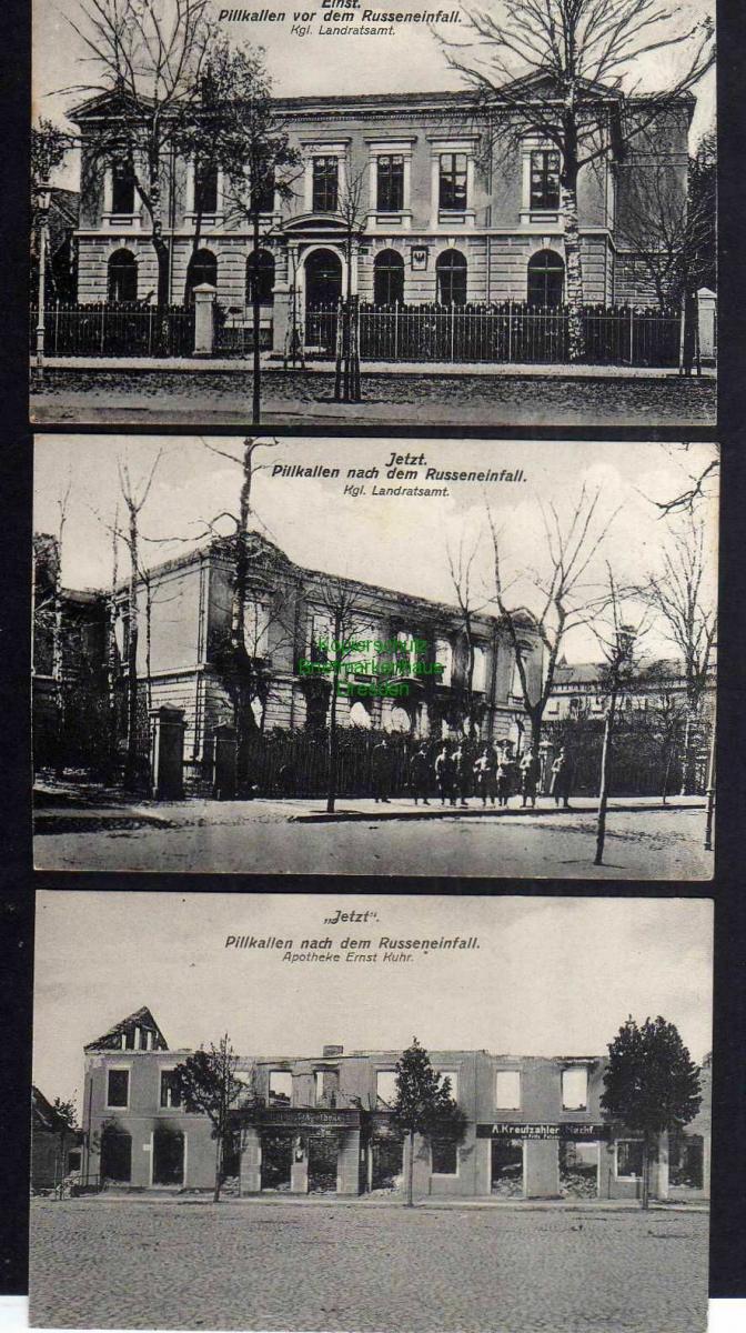 3 Ansichtskarte Pillkallen Ostpreußen Einst und Jetzt 1915 Landratsamt Apotheke