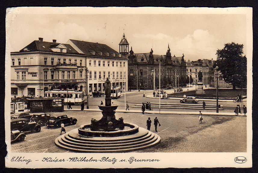 Ansichtskarte Elbing Elblag Dresdner Bank Kaiser Wilhelm Platz 1941 gelaufen
