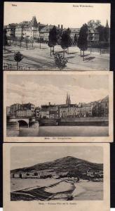 3 Ansichtskarte Metz Kaiser Wilhelm Ring 1915 Georgsbrücke 1918 Wadrinau Wehr