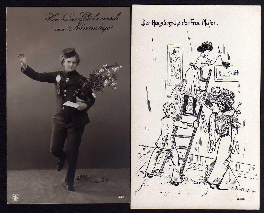 2 Ansichtskarte Bote Glückwunsch um 1915 Geburtstag hausbursche der Frau Major