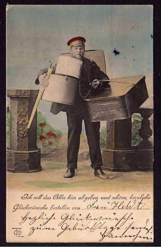Ansichtskarte Bote mit Glückwünschen und Geschenken Berlin 1905 Geburtstag