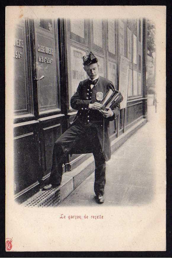 Ansichtskarte Le garcon de recette Der Rezeptjunge Bote Paris um 1900
