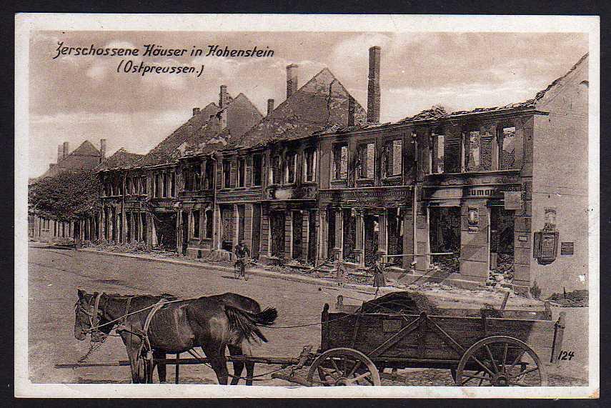 Ansichtskarte Ostpreußen zerschossene Häuser in Hohenstein um 1915 Ostpreußenhilfe