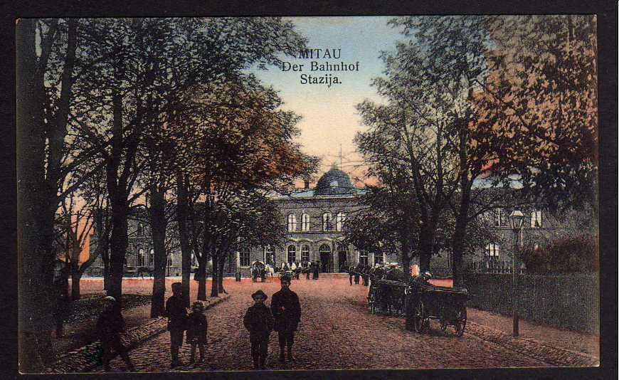 Ansichtskarte Mitau Bahnhof Stazija Jelgava Lettland um 1915 ungelaufen