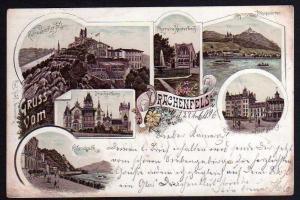 Ansichtskarte Drachenfels 1896 Petersberg Drachenburg Ruine Rolandseck Königswinter