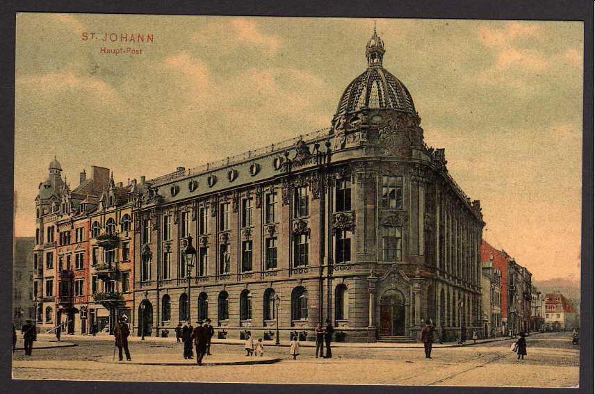 Ansichtskarte St. Johann Hauptpost gelaufen 1910