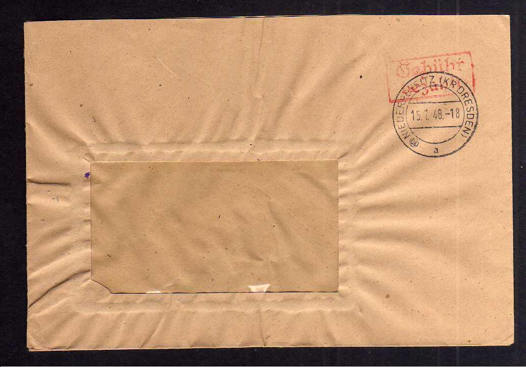 B1949 Brief SBZ Gebühr bezahlt 1948 Währungsreform Niederpoyritz Kr. Dresden Fen