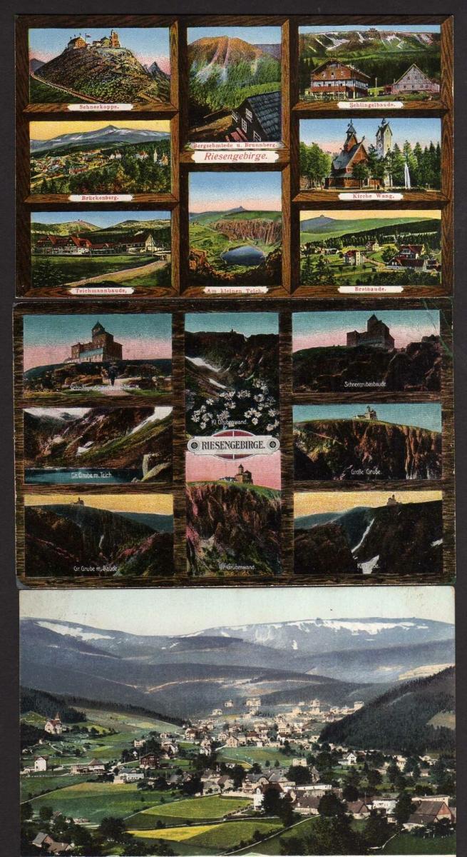 3 Ansichtskarte Riesengebirge Krummhübel 1910 Bahnpost Zillerthal  Teichmannbaude …