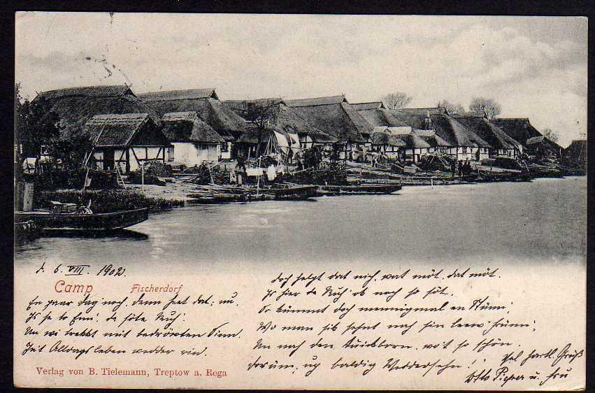 Ansichtskarte Camp Deep Stettin Fischerdorf 1902 Verlag v. B. Tielemann Treptow Rega