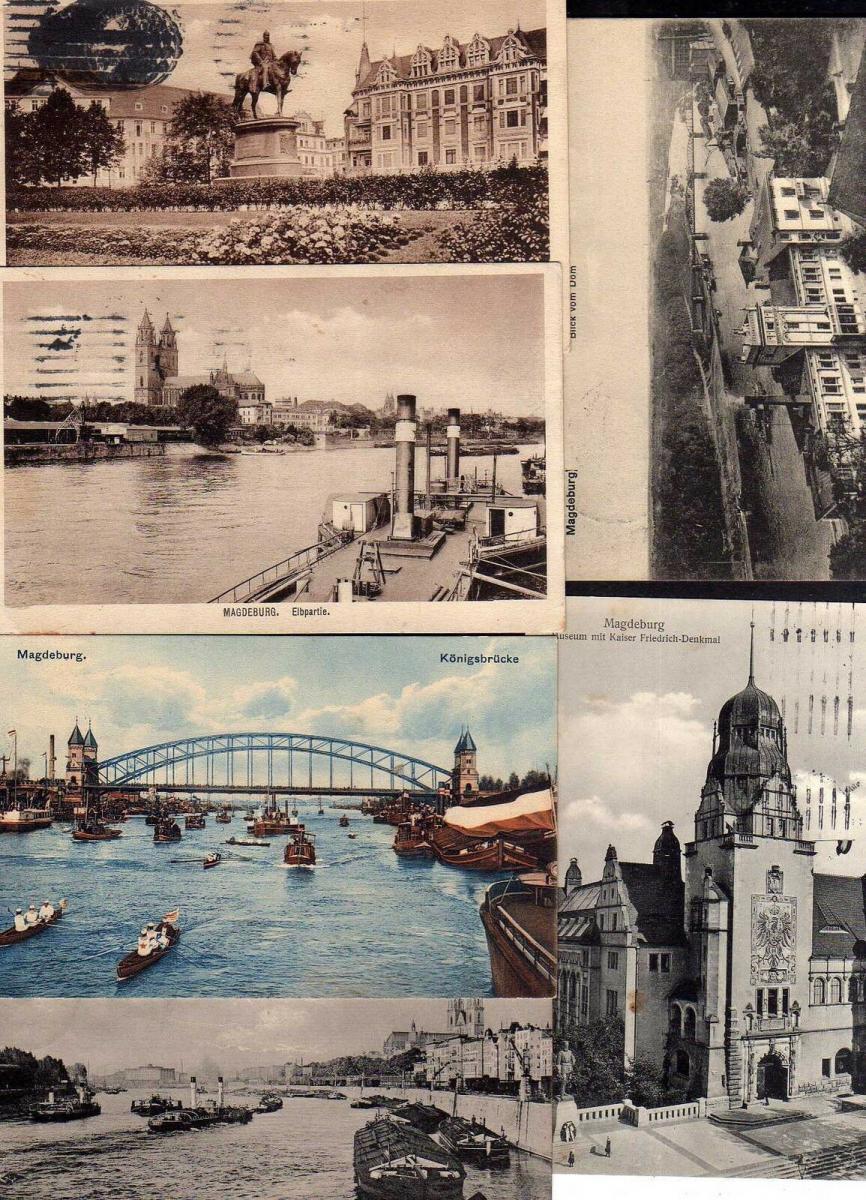 6 Ansichtskarte Magdeburg Kaiser Wilhelm Platz 1916 Museum Denkmal Königsbrücke 1921