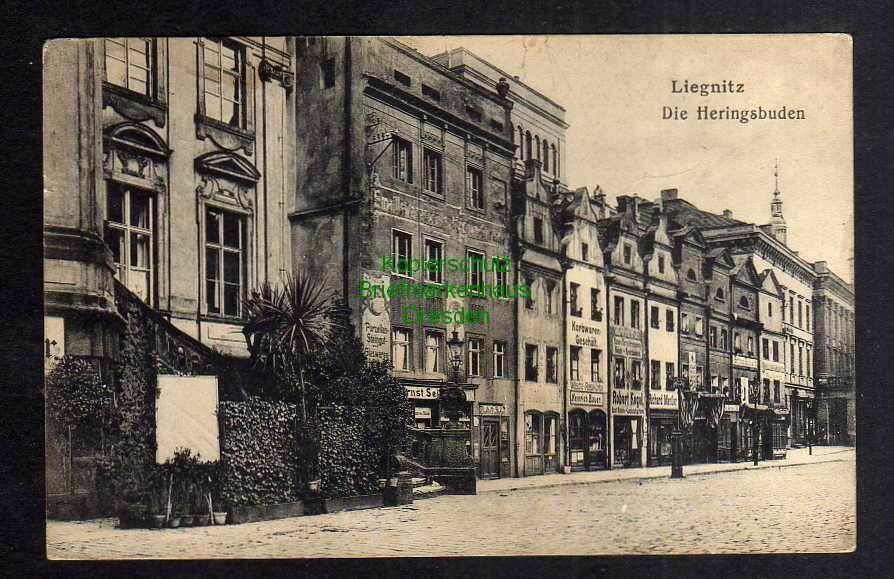 Ansichtskarte Liegnitz Die Heringsbuden 1915 Feldpost