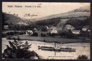 Ak Sächs. Schweiz Pötzscha Stadt Wehlen 1907