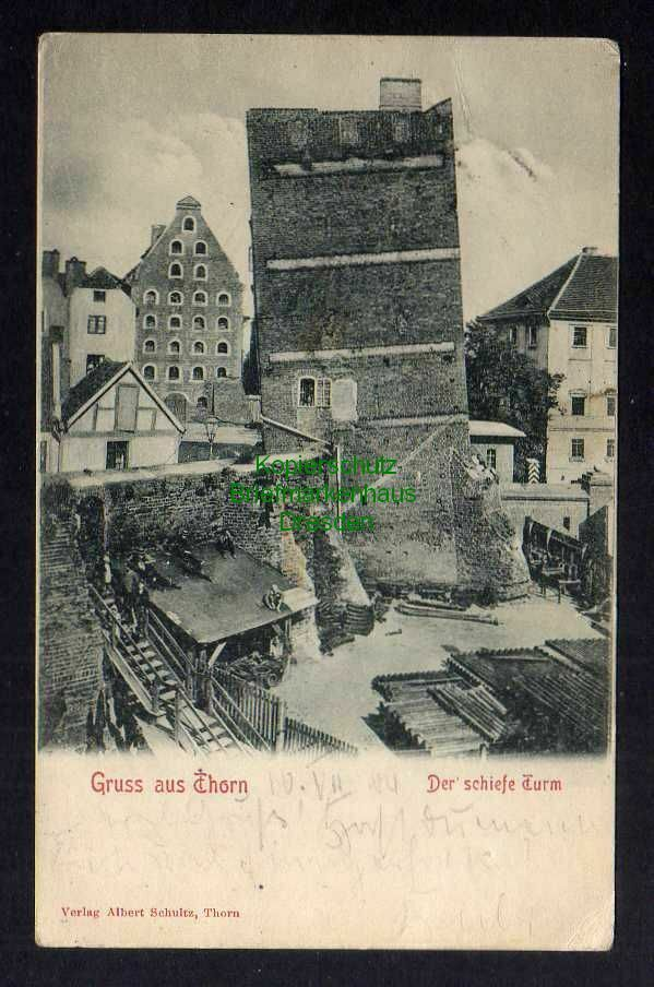 Ansichtskarte Thorn Torun 1905 Der schiefe Turm