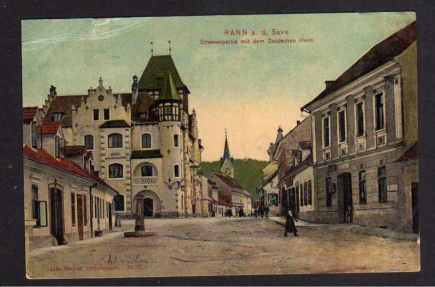 Ansichtskarte Brezice Rann Slovenien 1908 Hotel zum schwarzen Adler Deutsches Heim