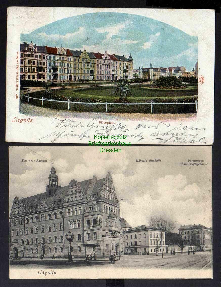 2 Ansichtskarte Liegnitz Neues Rathaus Hänels Bierhalle Bilseplatz 1901