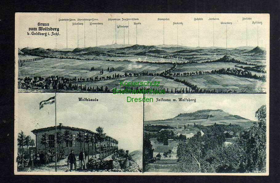 Ansichtskarte Wolfsbergbaude b Goldberg Schlesien 1926 Bahnpost Liegnitz - Merzdorf