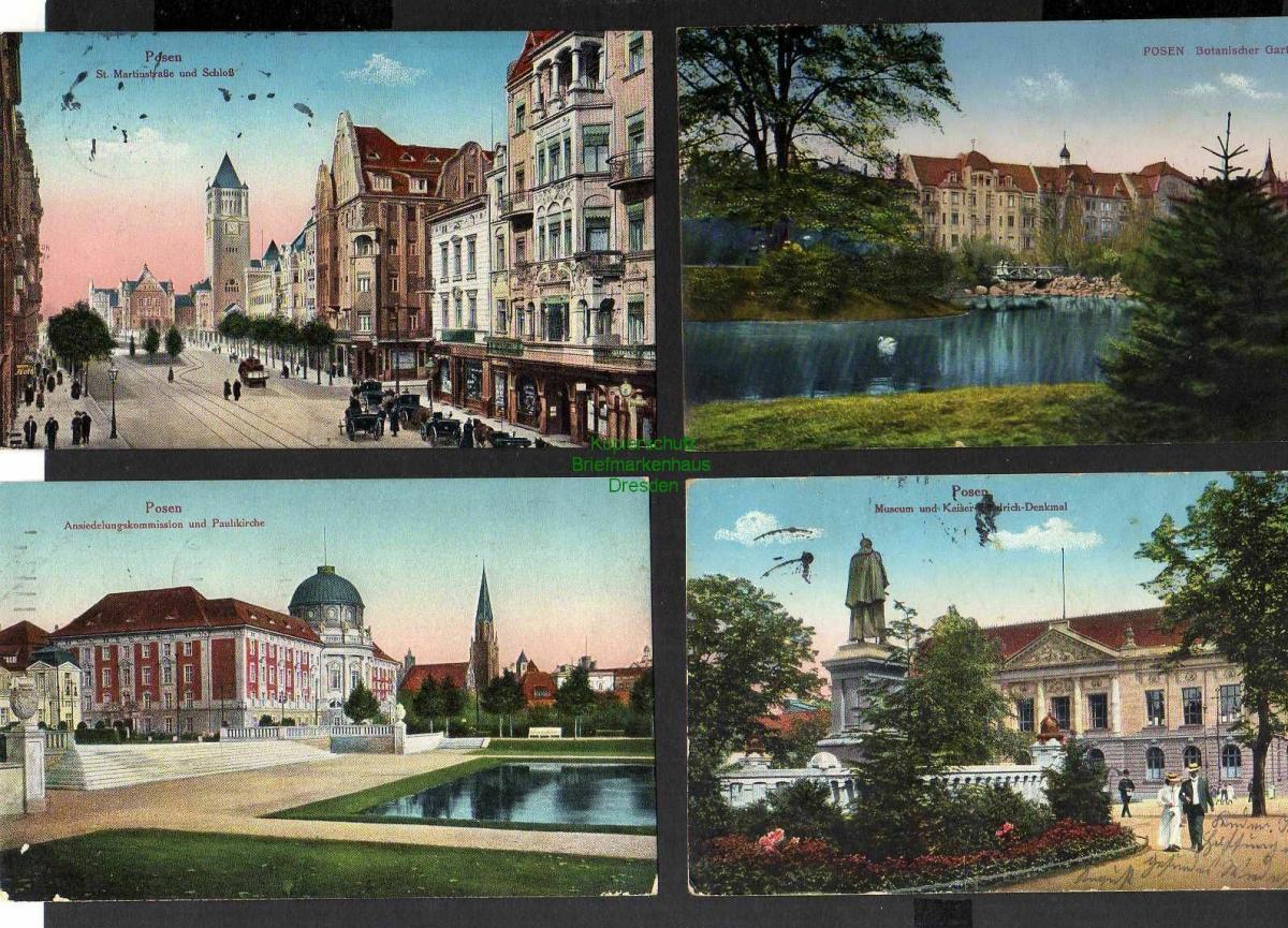 7 Ansichtskarte Posen Botanischer Garten 1915 St. Martinstraße Theaterbrücke 1914