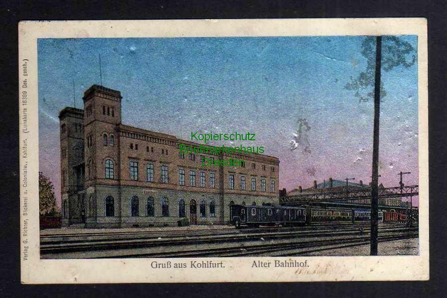 Ansichtskarte Wegliniec Kohlfurt Alter Bahnhof 1914 Lunakarte