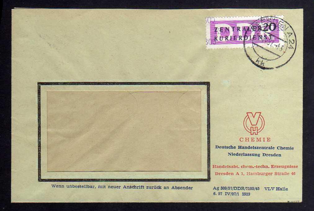 B1499 DDR ZKD 15 Kontrollzahl 1300 Brief Dresden geprüft BPP DHC Chemie Abt. che