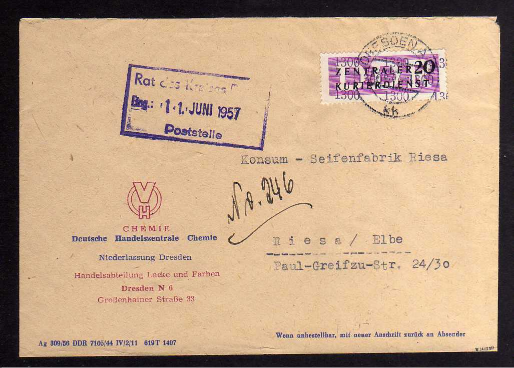 B1498 DDR ZKD 15 Kontrollzahl 1300 Brief Dresden geprüft BPP DHC Chemie Abt. Lac