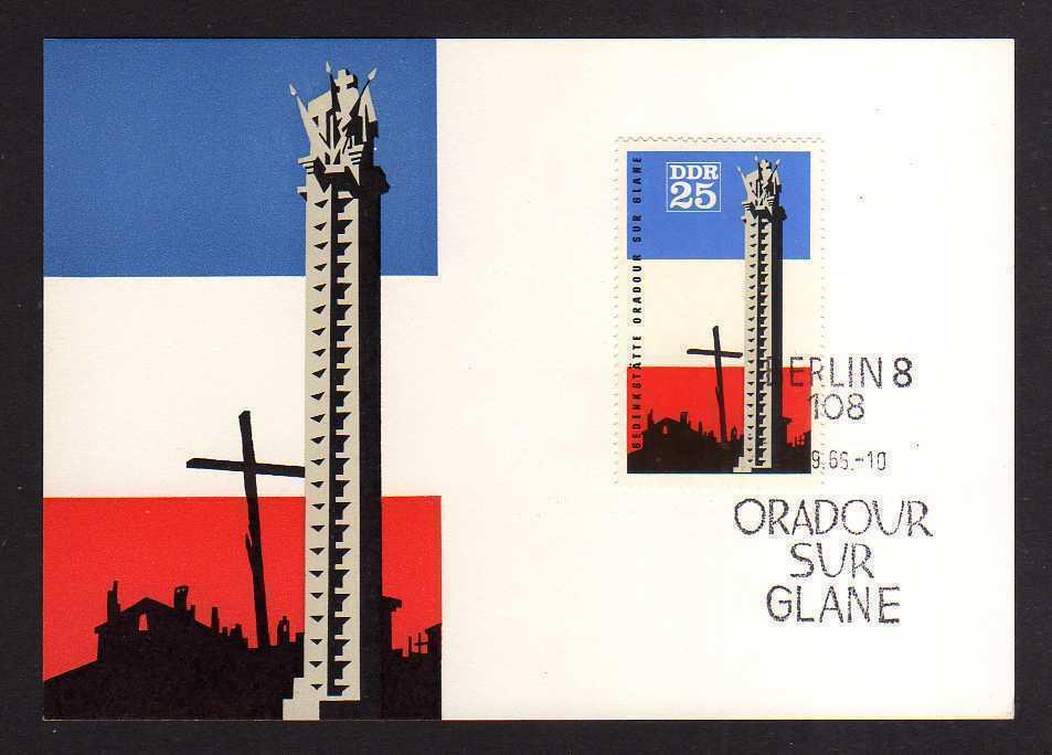 Maximumkarte DDR 1966 1206 Gedenkstätte Oradour-sur-Glane