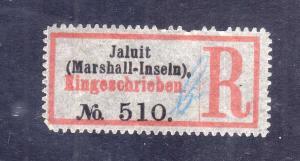 Kolonien Einschreiben R Zettel Jaluit Marshall-Inseln