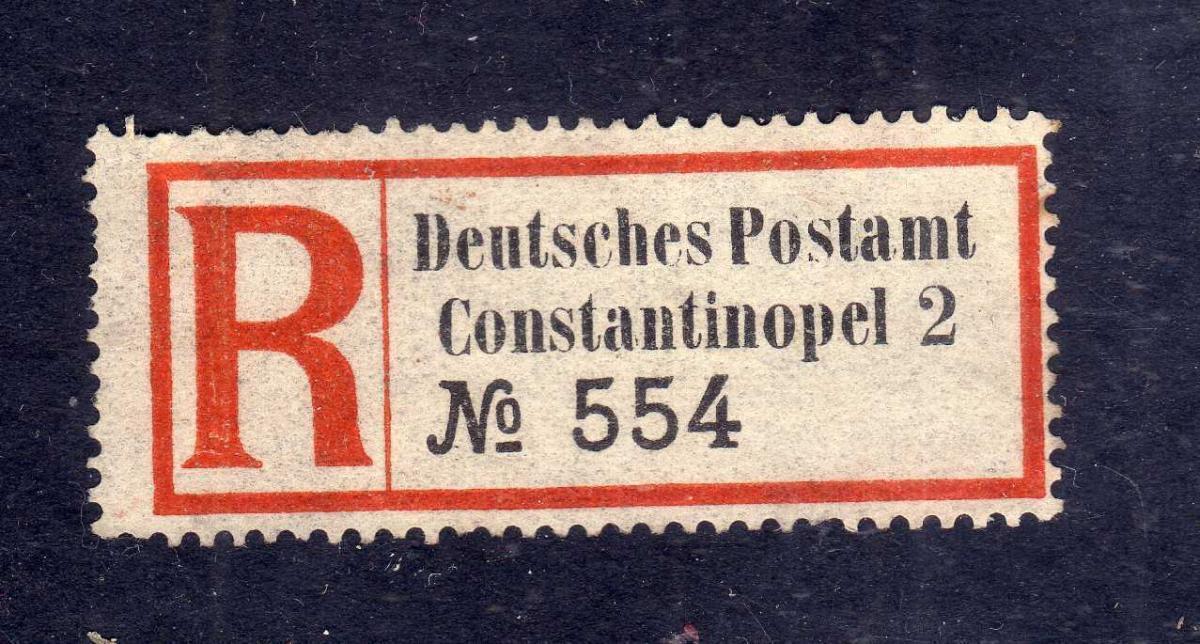 Kolonien Einschreiben R Zettel Türkei Constantinopel 2 Eingeschrieben Deu