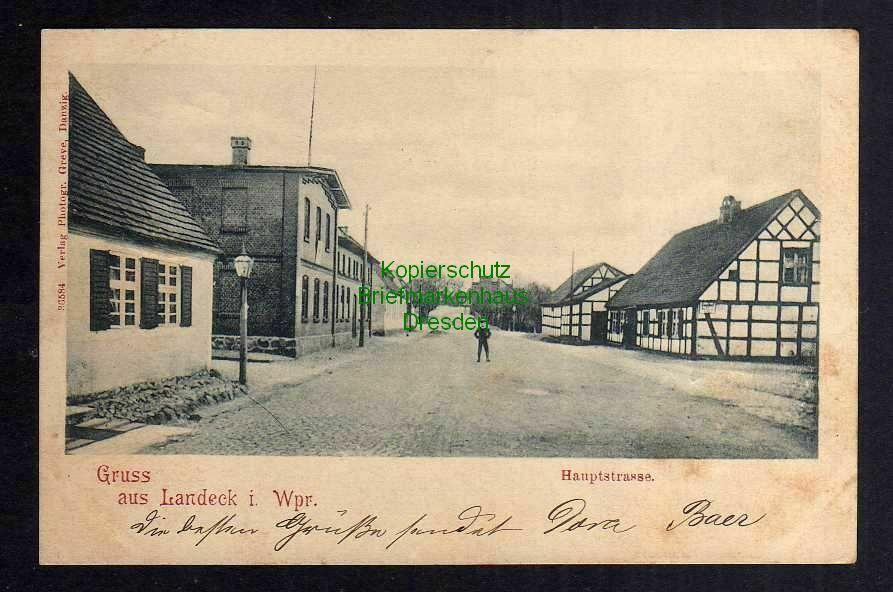 Ansichtskarte Landeck i. Wpr. Ledyczek Hauptstraße Fachwerkhaus 1902