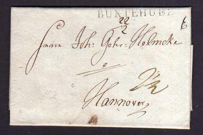 Faltbrief Einzeiler Buxtehude um 1840