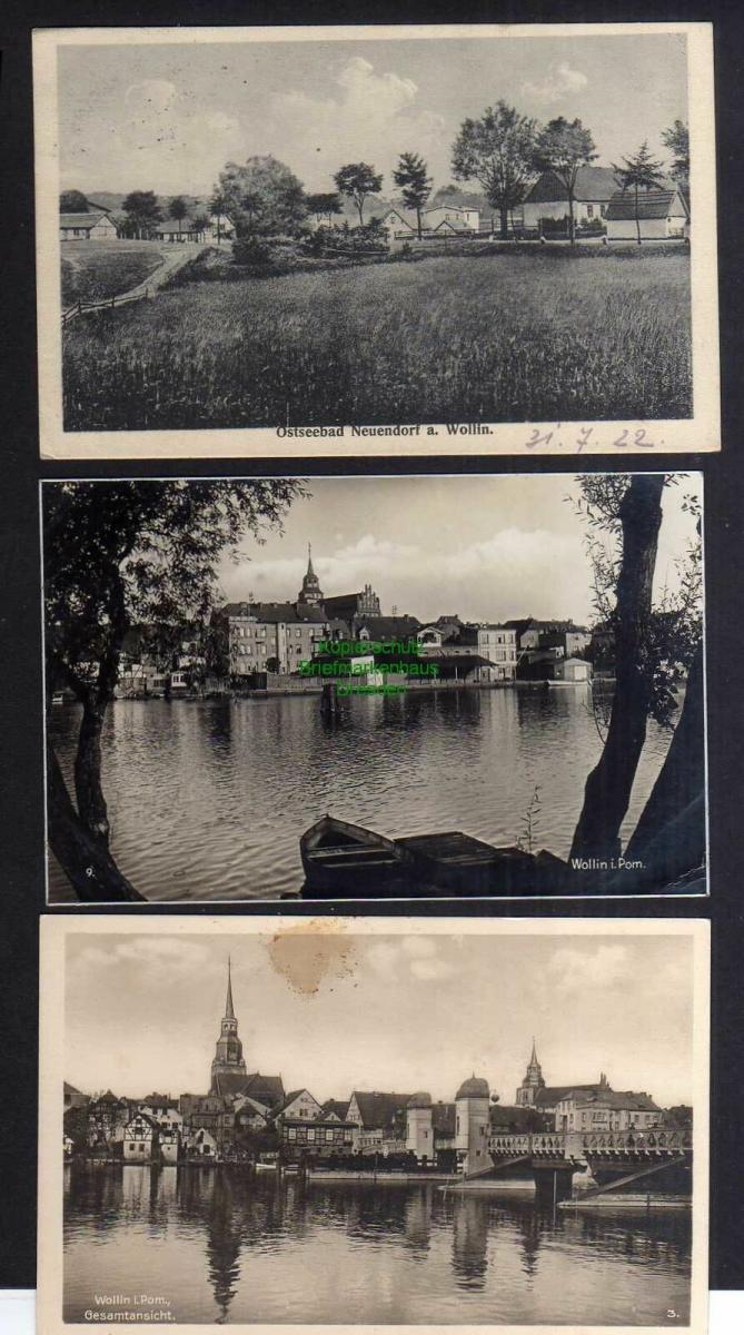 3 Ansichtskarte Wiselka Neuendorf auf der Insel Wollin 1922 Panorama