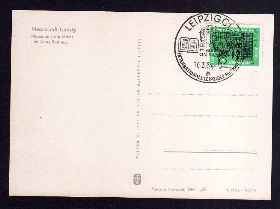 Maximumkarte DDR 1964 1012 Leipziger Frühjahrsmesse Messehalle 18 Elektr