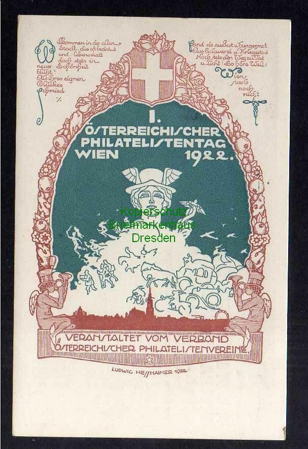 Ansichtskarte Wien 1922 Österreichischer Philatelistentag Hessheimer Sonderstempel