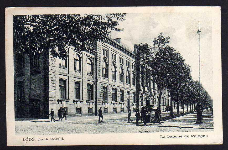 Ansichtskarte Lodz Lodsch Bank Polski 1928