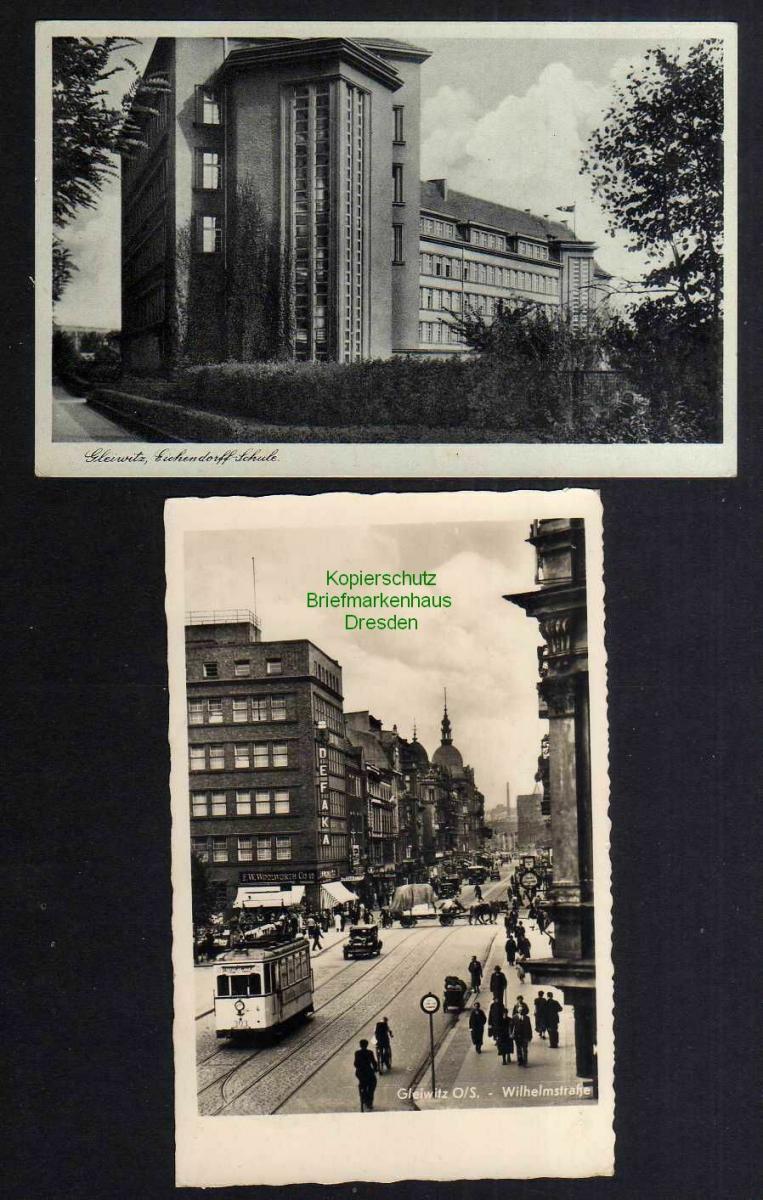 2 Ansichtskarte Gleiwitz O.S. Wilhelmstrasse 1940 Eichendorff Schule 1941 Feldpost