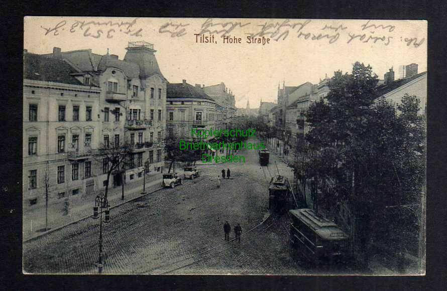 Ansichtskarte Tilsit 1916 Straßenbahn Hohe Straße Feldpost