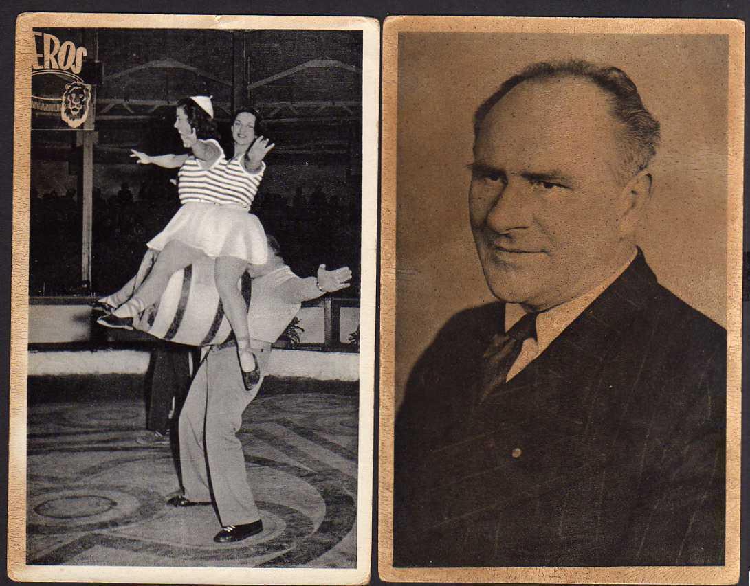 2 Ansichtskarte Milo Barus ex-stärkster Mann d. Welt Zirkus 1957