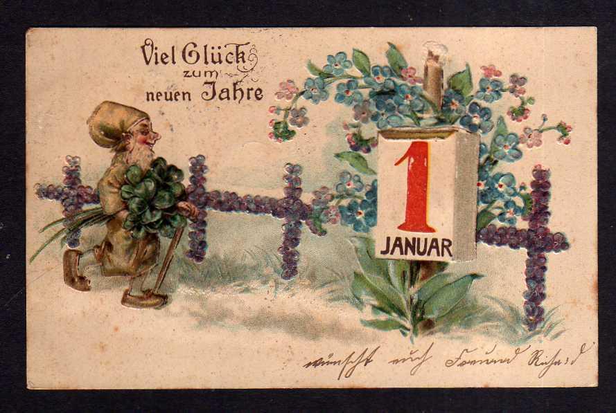 Ansichtskarte Viel Glück zum neuen Jahre 1906 Neujahr Glücksklee Zwerg 1. Januar Kal