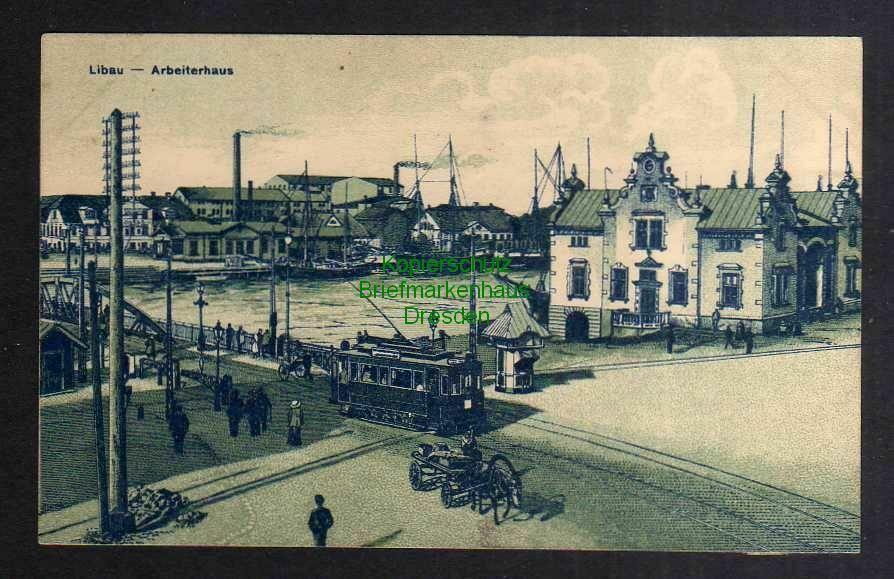 Ansichtskarte Liepaja Libau 1915 Feldpost Arbeiterhaus Straßenbahn