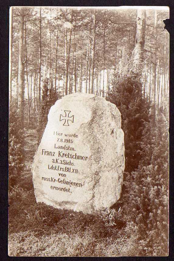 Ansichtskarte Czarne Hammerstein 1915 Grabstein ermordeter Landsturmmann Fotokarte