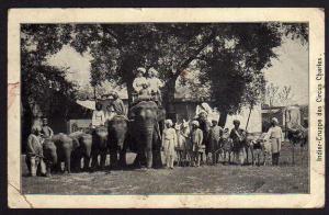 Ansichtskarte Inder Truppe des Zirkus Charles Cirkus Elefant Lama Strauß